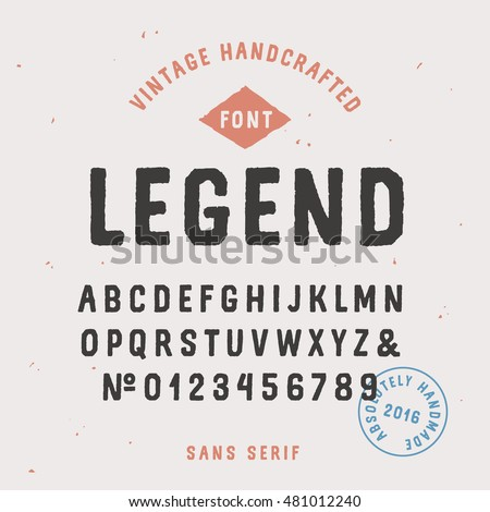 Vintage handcrafted sans serif font traditional stock vector vintage handcrafted sans serif font in traditional american style uppercase rough alphabet altavistaventures Gallery