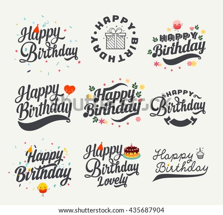 Vintage Happy Birthday Calligraphic And Typographic Background - stock vector