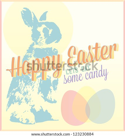 Vintage Happy Easter Card with Lets Eat Some Candy Tagline - stock vector