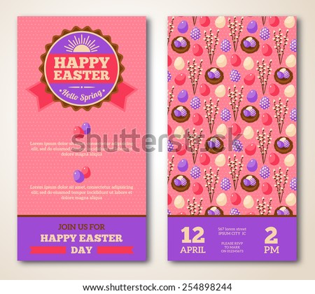Vintage Happy Easter Greeting Card Design. Vector Illustration. Retro Banners with Pattern. Easter Frame with Sun. Easter Egg Hunt Flyer with Willow and Nest. - stock vector