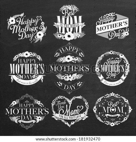 Vintage Happy Mothers Day Typographical Labels Set On Chalkboard - stock vector