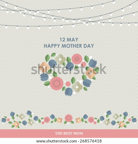 Vintage Happy Mothers's Day Background. Happy mothers day cards flat - stock vector
