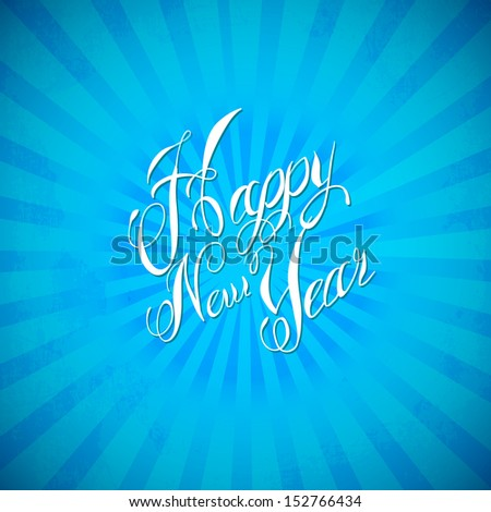Vintage Happy New Year Banner Blue - stock vector