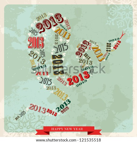 Vintage Happy New year 2013 concept numbers in snake shape. Vector illustration layered for easy manipulation and custom coloring. - stock vector