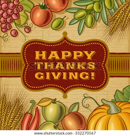 Vintage Happy Thanksgiving Card. Editable EPS10 vector illustration with clipping mask and transparency.