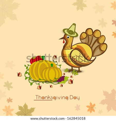 Vintage Happy Thanksgiving Day concept with turkey bird wearing pilgrim hat, fruits and vegetables on autumn leaves decorated background.  - stock vector