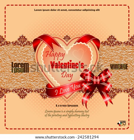 "Vintage Happy Valentine's Day background with ""Happy Valentine's Day""  text and ""I Love you"" on ribbon, vintage linen/jute with ornamental design as backdrop.   - stock vector"