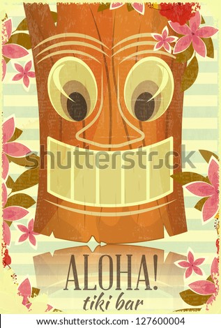 Vintage Hawaiian Aloha postcard - invitation to Tiki Bar - vector illustration - stock vector
