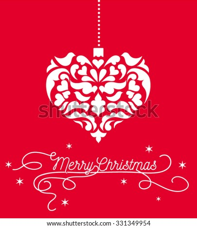 vintage heart christmas heart ornament white damask pattern with red background and merry christmas greeting sign  - stock vector
