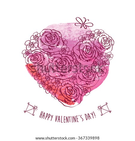 Vintage heart of flowers on the pink watercolor background.. Greeting card for Valentine's Day. Congratulation. Hand drawn decorative floral elements for Valentine's Day. Doodles, sketch. Vector. - stock vector