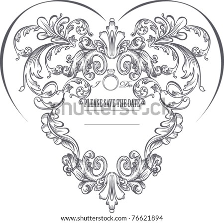 vintage heart shape background - stock vector