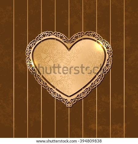 Vintage heart shaped decorative golden frame on striped brown background. Abstract heart with ornamental borders. Luxurious template for your design. Vector illustration EPS10 - stock vector