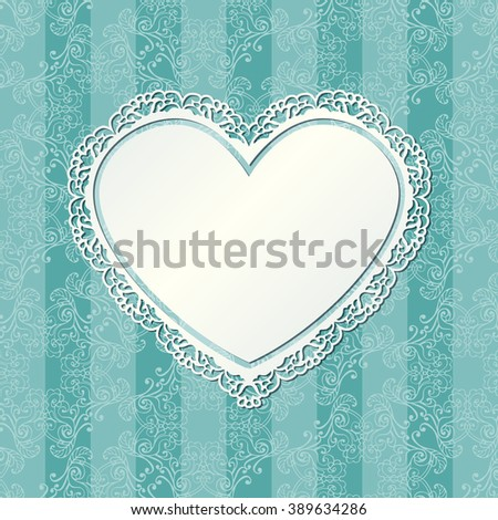 Vintage Heart Shaped Ornamental Frame On Stock Vector 389634286 ...