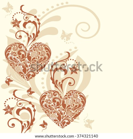 Vintage heart vector background. Valentine's Day card.