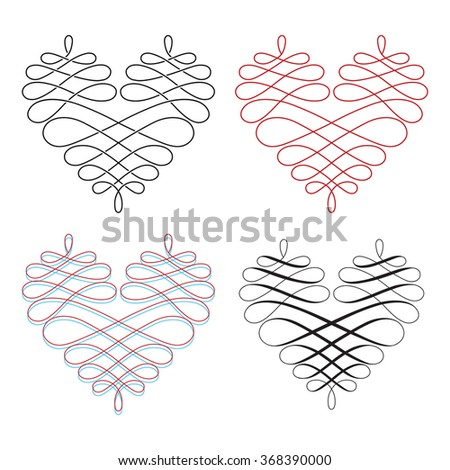 Vintage Heart Vector Illustration Set