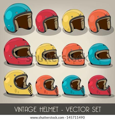 Vintage Helmet Vector Set - stock vector