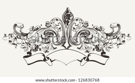 Vintage High Ornate Banner Text - stock vector