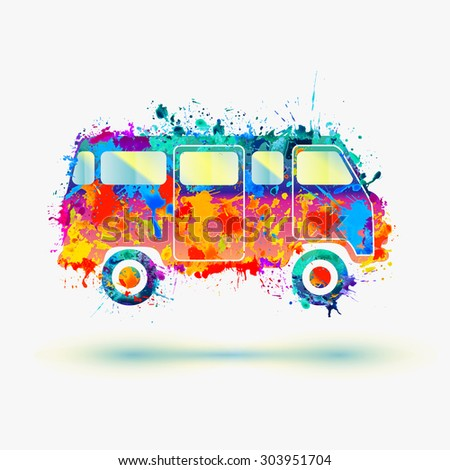 Vintage Hippie Camper bus. Vector - stock vector