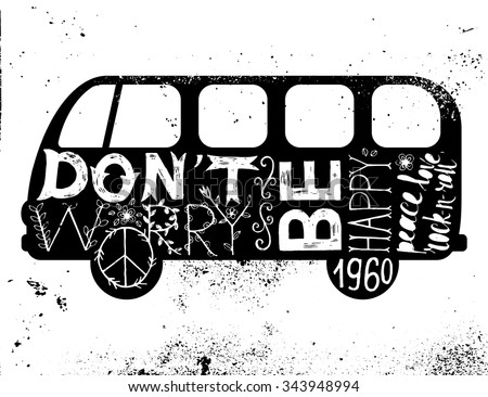 Vintage hippie time decorated van. Don't worry, be happy. Peace, love, rock-n-roll  - stock vector