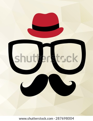 Vintage hipster background. Sunglasses, mustache and hat. Print for T-shirts. - stock vector
