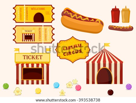 Vintage hipster circus collection with carnival, fun fair, food vector icons illustration. Cartoon circus elements food, tickets, circus tent. Circus party icons and circus emblem. - stock vector