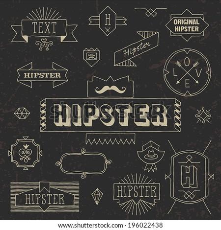 Vintage hipster hand drawn design elements set 7. Vector illustration. - stock vector