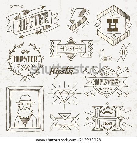 Vintage hipster hand drawn design elements set 8. Vector illustration. - stock vector