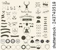 Vintage hipster labels,arrow,  sunglasses, mustache, bow, anchors,and camera. Vector illustration. - stock vector