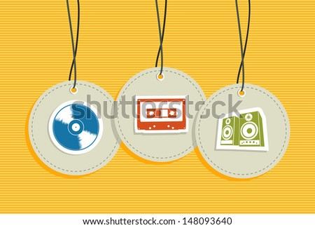 Vintage hipster music hang tags icon set. Vector file layered for easy manipulation and custom coloring. - stock vector