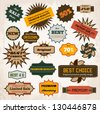 Vintage hipster retro labels set of stamps, stickers, ribbons, marks and calligraphic design elements, vector for design - stock vector