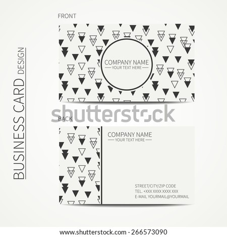 Vintage hipster simple monochrome business card template for your design. Line seamless pattern with geometric pattern with rhombus, square. Trendy calling card.  - stock vector