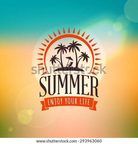 Vintage Hipster Summer Holidays Label or Badge. Vector Design Element on Colorful Summer Background - stock vector