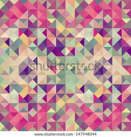 Vintage hipster triangle seamless pattern background. Vector file layered for easy manipulation and custom coloring. - stock vector
