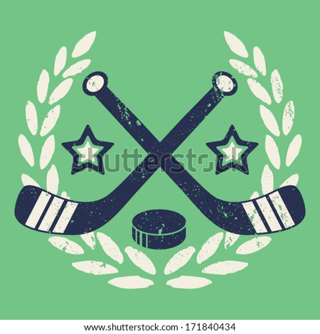 Vintage Hockey Crest - stock vector