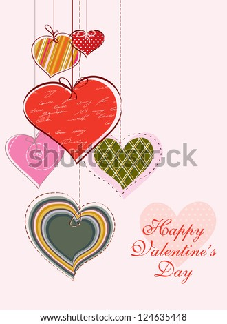 Vintage holiday card with hand drawn hearts - stock vector