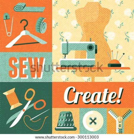 Vintage home sewing do yourself craft vectores en stock 300113003 vintage home sewing do it yourself craft decorative poster with tailor scissors and mannequin abstract vector solutioingenieria Gallery