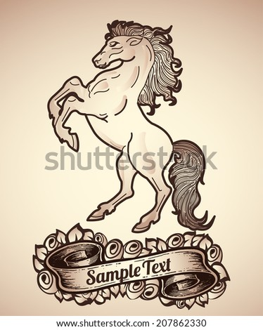 Vintage Horse and roses tattoo - retro style  - stock vector