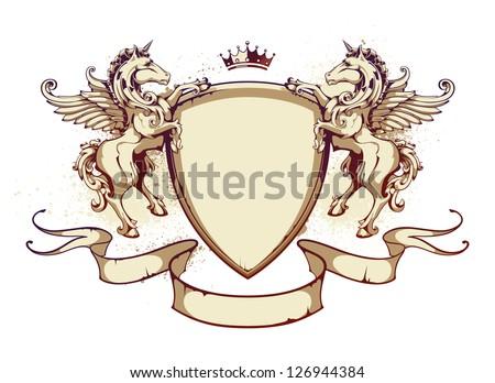 Vintage horse on shield. Vector illustration. - stock vector