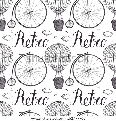 Vintage hot air balloon and bicycle pattern - stock vector