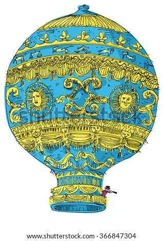 vintage hot air balloon - cartoon - stock vector