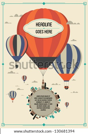 vintage hot air balloon in the sky vector/illustration /background/greeting card/ - stock vector