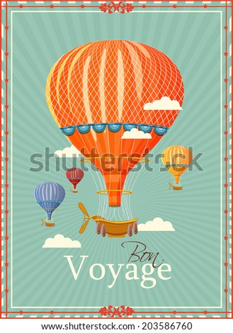 Vintage hot air balloon in the sky vector. illustration. Background. Greeting card. Poster template in retro style.  - stock vector