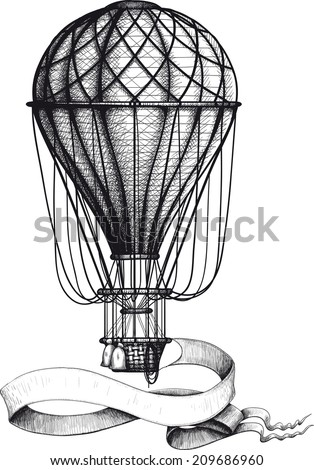 Vintage hot air balloon with waving banner hanging to the basket - stock vector