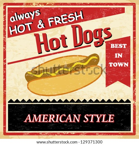 Vintage Hot dog grunge old style poster background, vector illustration - stock vector