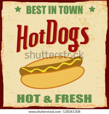 Vintage Hot dog grunge poster background, vector illustration - stock vector