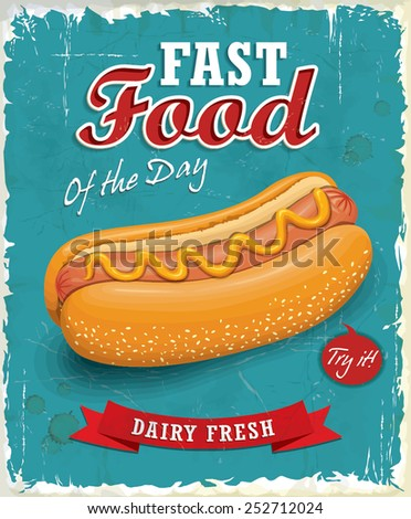 Vintage hot dog poster design  - stock vector