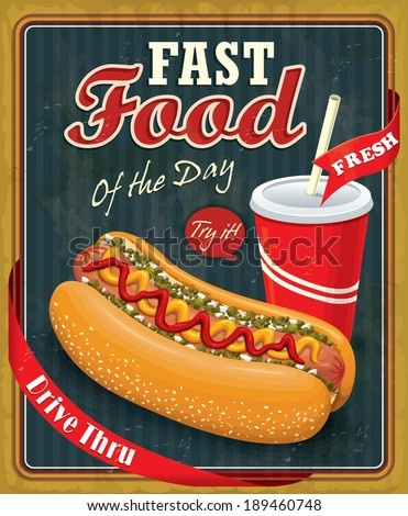 Vintage hot dog with drink poster design - stock vector