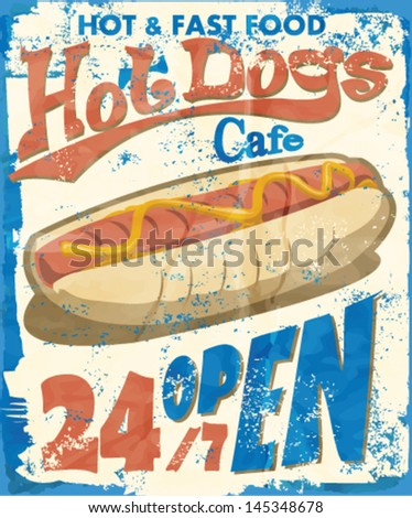 Vintage Hot Dogs Metal Sign .Grunge effects can be easily removed. - stock vector