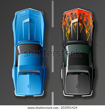 Vintage hot rod cars.top view. - stock vector
