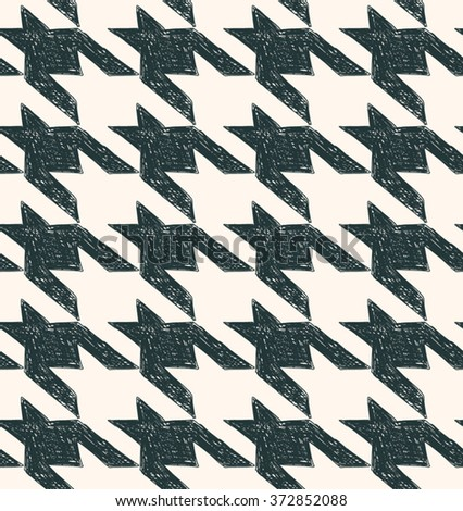 Vintage houndstooth seamless pattern. Black wite fabric background - stock vector